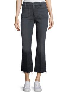 Mother Denim Patch Slacker Crop Fray Flared Jeans