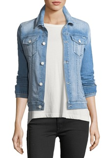 Mother Denim Star Bruiser Button-Front Faded Denim Jacket