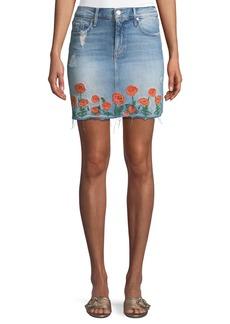 Mother Denim MOTHER High-Waist Frayed Embroidered Denim Mini Skirt