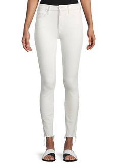 Mother Denim High-Waist Skinny Looker Ankle-Fray Jeans