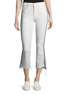 Mother Denim MOTHER Insider Crop Step-Fray Straight-Legs Jeans W/ Racing Stripes