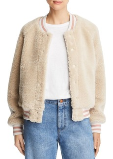 Mother Denim MOTHER Letterman Sherpa Fleece Varsity Jacket