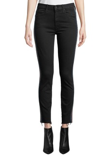 Mother Denim MOTHER Looker High-Waist Ankle Fray Skinny Jeans w/ Racing Stripes