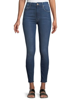 Mother Denim MOTHER Looker High-Waist Frayed Ankle Skinny Jeans