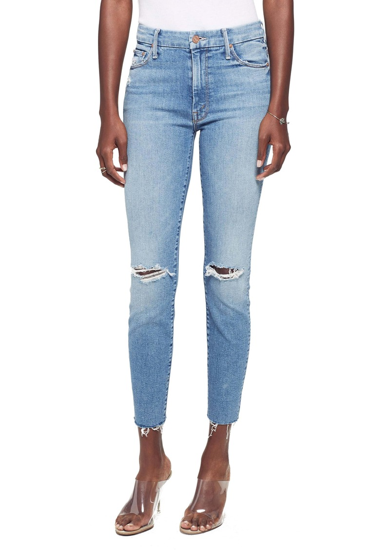 MOTHER Looker Ripped High Waist Fray Ankle Skinny Jeans (Thrilling Shots)