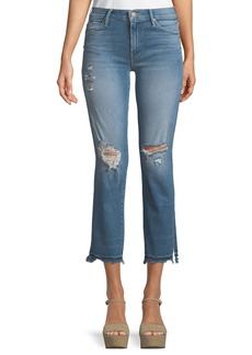 Mother Denim Rascal Snippet Chew Straight-Leg Ankle Jeans
