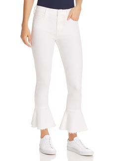 Mother Denim MOTHER The Cha Cha Fray Cropped Flared Jeans in Glass Slipper