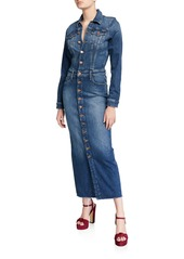 Mother Denim MOTHER The Cover Up Button-Front Denim Maxi Dress