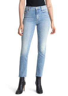 Mother Denim MOTHER The Dazzler High Waist Fray Hem Ankle Straight Leg Jeans (Jackpot)