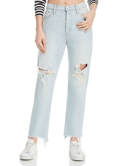 Mother Denim MOTHER The Huffy Flood Chewed-Hem Straight-Leg Jeans in Really Hot As Hell