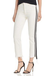 Mother Denim MOTHER The Insider Track Stripe Cropped Flared Jeans in Whipping The Racer