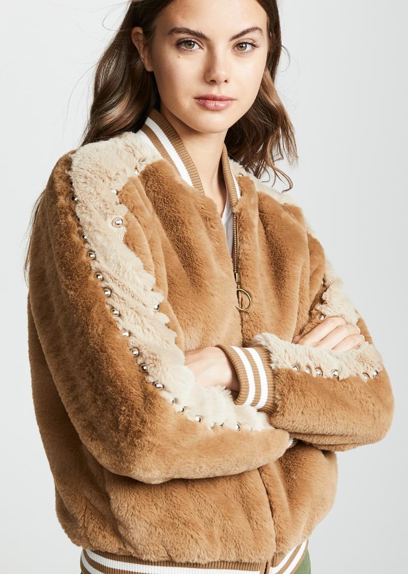 Mother Denim MOTHER The Letterman Faux Fur Jacket