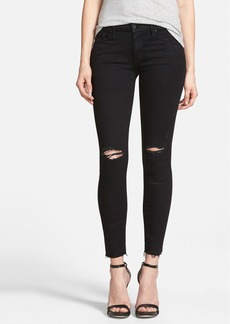 Mother Denim MOTHER 'The Looker' Frayed Ankle Skinny Jeans (Guilty As Sin)