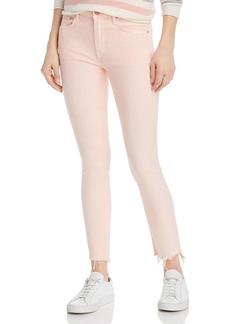 Mother Denim MOTHER The Looker Frayed Step-Hem Skinny Jeans in So Far Gone Pink Lemonade