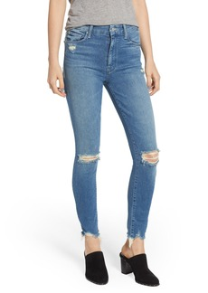 Mother Denim MOTHER The Looker High Waist Fray Ankle Skinny Jeans (Learning to Hula)