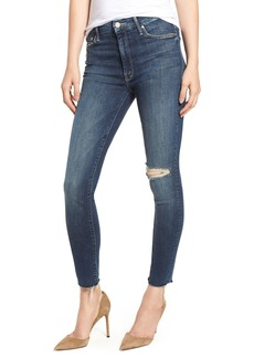 Mother Denim MOTHER The Looker High Waist Frayed Ankle Skinny Jeans (Close to the Edge)