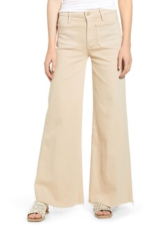 Mother Denim MOTHER The Patch Pocket Roller High Waist Fray Hem Wide Leg Khaki Pants