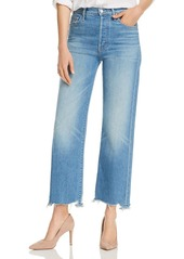 Mother Denim MOTHER The Rambler Chewed-Hem Straight-Leg Jeans in Post No Bills