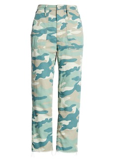 Mother Denim MOTHER The Shaker Camo Print Cotton & Linen Blend Chop Crop Pants