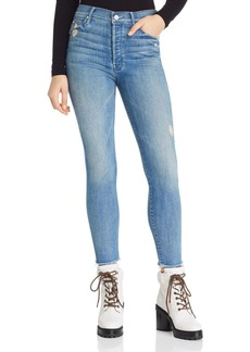 Mother Denim MOTHER The Stunner Fray Ankle Skinny Jeans in Graffiti Girl Lover - 100% Exclusive