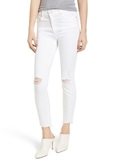 Mother Denim MOTHER The Stunner High Waist Fray Ankle Skinny Jeans (Little Miss Innocent)