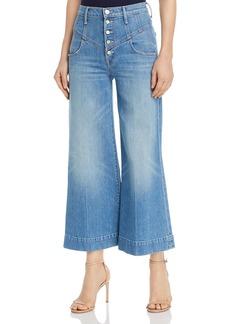 Mother Denim MOTHER The Swooner Roller Cropped Wide-Leg Jeans in Post No Bills