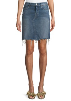 Mother Denim Tomcat Straight Denim Mini Skirt w/ Fray Hem