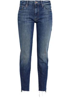 Mother Denim Mother Woman Frayed High-rise Slim-leg Jeans Dark Denim