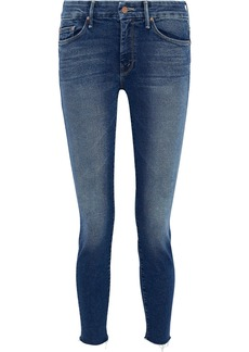 Mother Denim Mother Woman The Looker Cropped Frayed High-rise Skinny Jeans Mid Denim