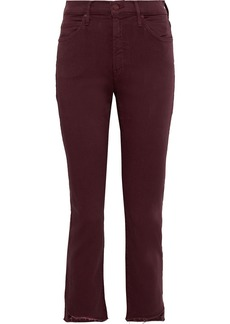 Mother Denim Mother Woman The Rascal Frayed Mid-rise Skinny Jeans Merlot