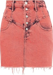 Mother Denim Mother Woman The Swooner Frayed Bleached Denim Mini Skirt Coral