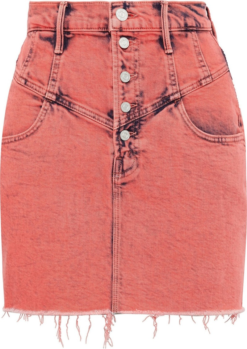 Mother Woman The Swooner Frayed Bleached Denim Mini Skirt Coral