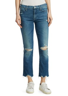 Mother Denim Rascal Mid-Rise Distressed Ankle Jeans