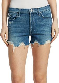 Mother Denim Rascal High-Rise Slit-Cut Denim Shorts