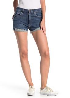 Mother Denim Rascal High Waisted Distressed Denim Shorts