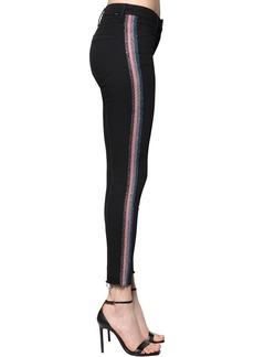 Mother Denim Skinny High Waist Lurex Band Denim Jeans