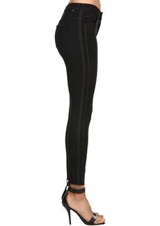 Mother Denim Skinny Lurex Bands Cropped Denim Jeans