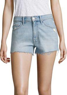 Mother Denim Super Zip High-Rise Cut-Off Denim Shorts