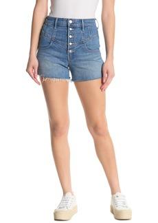 Mother Denim Swooner Frayed Button Fly Shorts