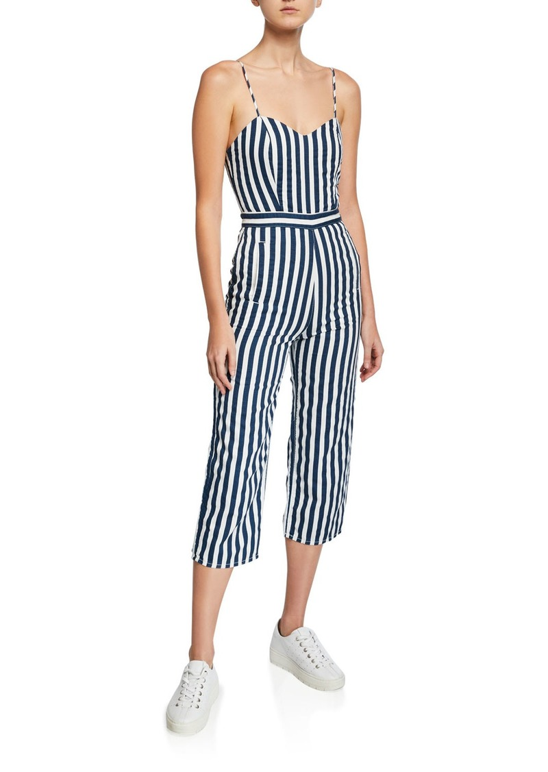 Mother Denim The Cut-It-Out Striped Sleeveless Jumpsuit