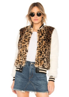 Mother Denim The Faux Fur Baseball Snap Jacket