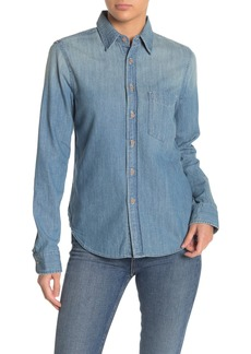 Mother Denim The Foxy Boxy Embroidered Denim Blouse