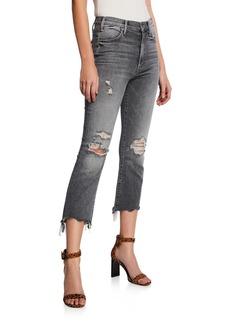 Mother Denim The Hustler Crop Step Chewed-Hem Jeans