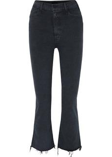 Mother Denim The Hustler Cropped Frayed High-rise Flared Jeans