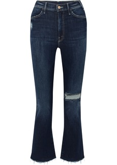 Mother Denim The Hustler Distressed Cropped High-rise Flared Jeans