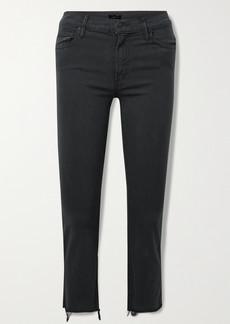 Mother Denim The Insider Crop Frayed High-rise Flared Jeans