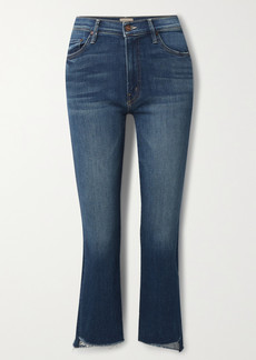 Mother Denim The Insider Cropped Frayed High-rise Flared Jeans