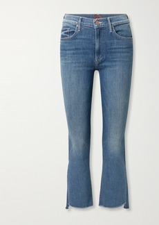 Mother Denim The Insider Frayed Cropped High-rise Flared Jeans