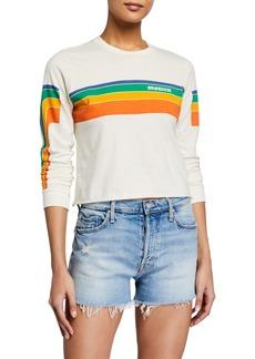 Mother Denim The Long-Sleeve Slouch Cutoff Sweatshirt