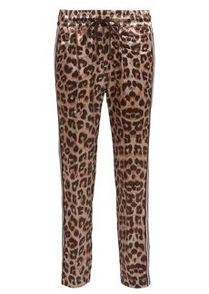 Mother Denim The Lounger Leopard Satin Joggers